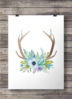 Aquarell Blumen und Geweih Drucken Printable von SouthPacific