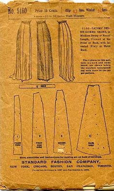 seven-gored skirt, ca. 1909-1912 -Original- Pre 1929 Historical Pattern Collection