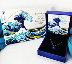 The Great Wave Birthday Anniversary Gift for her - Silver Blue Zircon Necklace, Art & Personalized Birthday Card Presents For Her, Gifts For Her, 40th Birthday Gifts, Birthday Cards, Anniversary Gift For Her, Blue Zircon, Message Card, Waves, Necklaces