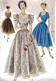 1950s evening dress sewing pattern illustrations.