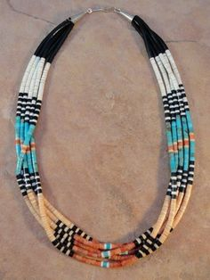 Santo Domingo 5 Strand Rolled Turquoise Apple Coral Jet Shell Necklace   eBay
