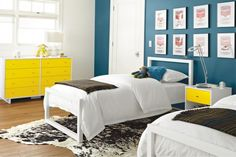 blue wall, yellow accents