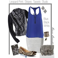 "Blue Top | Stripe Skirt | Leopard Print Flats | Leather Jacket || ""Blue, Black, & White w/ Stripes"" by tamz-lavender on Polyvore"