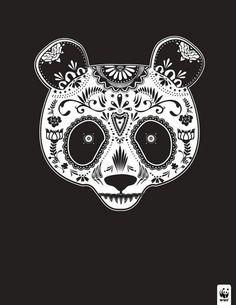 Panda bear sugar skull
