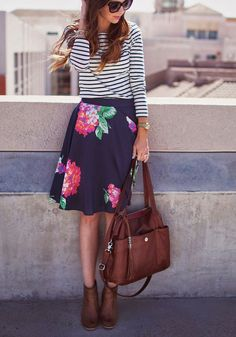 Striped top blue floral skirt brown handbag and boots. Spring street summer women fashion outfit clothing style apparel @roressclothes closet ideas