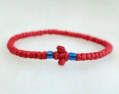 Tiny Red Cotton Prayer Rope Bracelet with beads by BYZANTINO