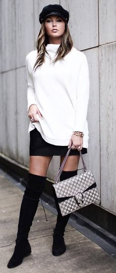 black and white trends | hat plsu white sweater + bag + skirt + over knee boots
