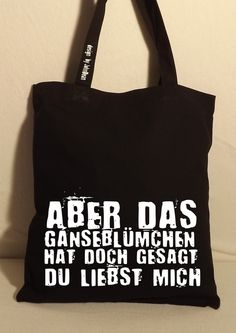 "Jutebeutel ""Aber das Gänseblümchen..."" // totebag by NoNameNeedle via DaWanda.com"