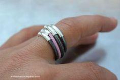 anillo plata y cuero 1