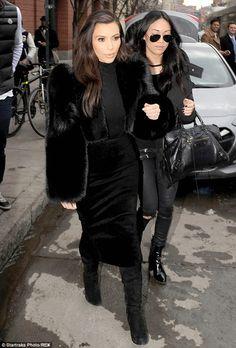 Azzedine Alaia Pony hair pencil skirt,Tom Ford Spring 2014 Black Fur Coat & Alexander Wang Suede Sofia Knee Boot