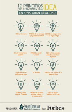 12 principios que convierten una idea en realidad #infografia #infographic #entrepreneurship