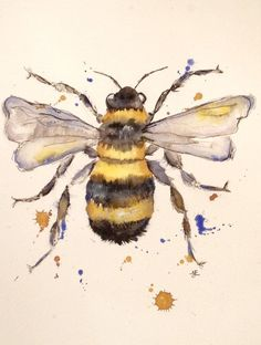 Watercolour Painting  bee Painting  insect by PuddlePaints on Etsy