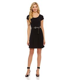 MICHAEL Michael Kors Belted Flared Dress | Dillard's Mobile