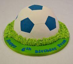 Blue and White Half Football Cake