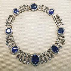 The stately necklace from the parure of La Reine Marie-Amelie, one of my favourite jewels in the Louvre Museum.   #antique #diamond #sapphire #necklace #louvre #paris