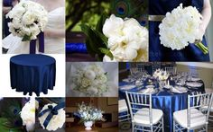What do you think? Blue, White, Silver and Peacock Feathers? :  wedding blue bouquet bridesmaids flowers inspiration inspiration board ivory navy peacock purple reception shoes silver white Navy Blue And Peacock Feather Inspiration Board