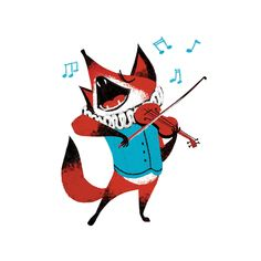 Print of a Fox playing violin and singing. cute silly funny animal giclee art print illustration. colours: light blue, red, white and black by CarolinaBuzio on Etsy https://www.etsy.com/listing/182874202/print-of-a-fox-playing-violin-and