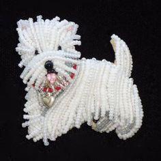 Bead embroidery beaded Westie West Highland White Terrier Dog Pin Pendant Etsy Jewelry The Lone Beader Amazon Handmade Vanderpump dogs