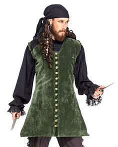Pirate Medieval Renaissance Captain Nathaniel Vest Jacket Costume C1420 Large *** More info could be found at the image url-affiliate link.
