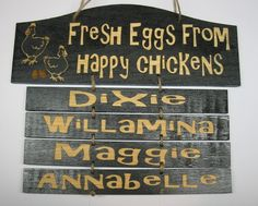 Personalized happy chickens wooden sign by MackleyWoodenGifts, $26.00