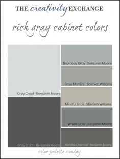 Collection of some of the most popular gray paint colors used for painting cabinets, vanities and furniture HERE ARE MY GRAYS TO CHOOSE FROM FOR MY VANITY! -Home Decor