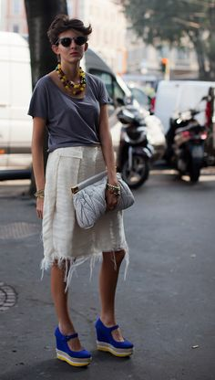 i love this - a distressed skirt with a polished top and some great accessories to pull it all together! happy hour inspiration!