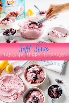 Bringing our Soft Serve Banana Berry Blizzard homemade ice cream to the table may cause sweet tooth cravings. Plus, it's hard not to keep asking for more when frozen Dole Mixed Berries are in the blend. Delicious Desserts, Dessert Recipes, Banana Berry, Soft Serve, Mixed Berries, Eat Dessert First, Homemade Ice Cream, Frozen Treats, Cravings