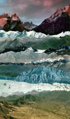 many mountains - a collage of mountain images Collages, Collage Art, Nature Collage, Photomontage, Illustration Art, Illustrations, Mountain Illustration, Kunst Online, All Nature