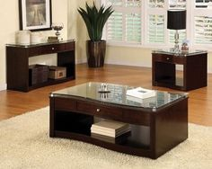 CM4780 Pierce Coffee Table in Brown Cherry w/Glass Top & Options