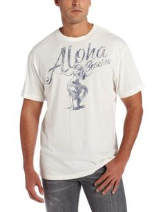 Margaritaville Mens Aloha Beaches Tee, Antique White, Large