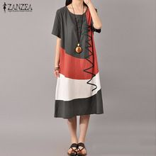 ZANZEA Mulheres Vestido da Cópia Do Vintage 2016 Verão Ladies O Neck Manga Curta Splice Casual Solto Vestido de Mid-Calf Vestidos plus Size(China (Mainland))