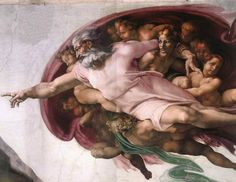 The Creation of Adam is arguably the most famous section of Michelangelo's fresco Sistine Chapel ceiling painted circa 1511–1512. It is traditionally thought to illustrate the Biblical creation narrative from the Book of Genesis in which God breathes life into Adam, the first man. Chronologically the fourth in the series of