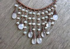 Oxidized copper wire necklace  gemstone necklace  by PixiesForest, $53.00