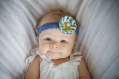Vintage Style Fabric Flower Baby Headband - Multiple Color Options - Periwinkle Lace and Pearl Accents - Great for Baby, Toddler, or Child!