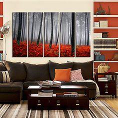 Stretched Canvas Art Landscape Misty Morning Set of 5 – USD $ 89.99