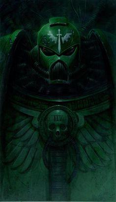 Dark Angel, I think by Adrien Smith? Warhammer 40k Art, Warhammer 40k Miniatures, Fantasy Armor, Dark Fantasy, Dark Angels 40k, Space Wolves, Angel Of Death, Space Marine, Painting Inspiration