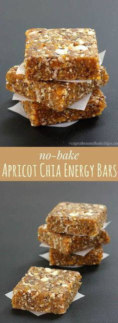 No-Bake Apricot Chia Energy Bars are a quick, easy, healthy snack that you can whip up in minutes with only six ingredients. Perfect for road trips and to pack in a school lunch box since they are gluten free, nut free, dairy free, and vegan. #cupcakesandkalechips #energybars #nobakerecipe #glutenfree #dairyfree #vegan #nutfree #peanutfree #allergyfriendly #healthysnack