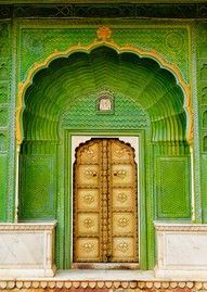 """One of the four gates at Pritam Chowk in the City Palace, Jaipur, India. Each gate represents one of the four seasons. The Green Gate, also called Laheriya (meaning: """"waves"""") Gate, represents spring. Cool Doors, Unique Doors, When One Door Closes, Closed Doors, Door Knockers, Doorway, Stairways, Windows And Doors, Monuments"""