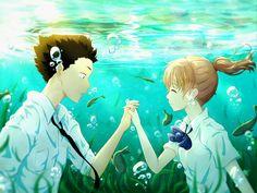 Koe No Katachi, Shouya X Shouko, Underwater, Couple, Smiling, Romance