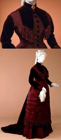 Wedding dress, ca. 1878. Silk (taffeta, velvet, chenille, fringe) and cotton. McCord Museum.