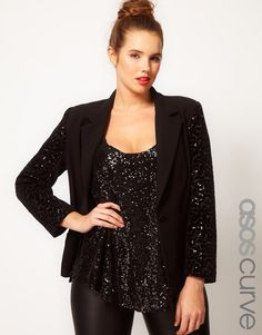 asos curve blazer with sequin sleeves!!