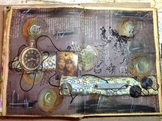 Art Journal, er moest een klok met wijzers te zien zijn. Het is een beetje van alles wat geworden.