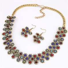 Rhinestone Embellished Elegant Daisies Cluster Fashion Necklace and Earrings Set - Multicolor