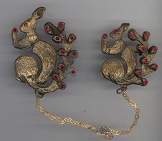 Vintage SQUIRREL Chatelaine Pin