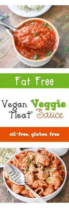 "Vegan Veggie Filled ""Meat"" Sauce and Pasta   www.veggiesdontbite.com   #vegan #fatfree #oilfree #glutenfree #veggies"