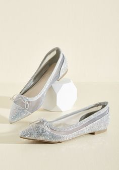 One for the Storybooks Flat - Silver, Solid, Bows, Rhinestones, Prom, Wedding, Party, Girls Night Out, Homecoming, Wedding Guest, Fall, Good, Silver, Metallic, Flat