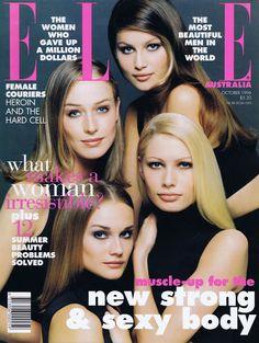 ELLE Australia, 1996. Models: Mak Gilchrist, Laetitia Casta, Kirsty Hume, Diane Heidkrueger