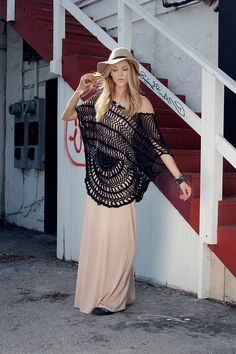 love! nude colored maxi dress, flowy, crocheted poncho