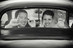 Sign language + old car + wedding = perfect!