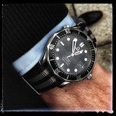 BluShark - 22mm Black and Gray Striped Nylon Watch Strap - James Bond Strap